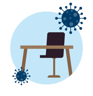 Icon-Empty desk with COVID-19 Virus around it