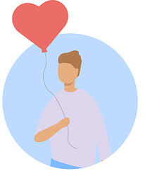 Icon - person holding a red heart balloon