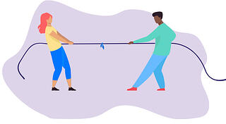 Icon - 2 people pulling a rope on opposite sides