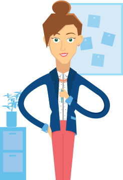 woman cartoon standing in office environment holding a pen