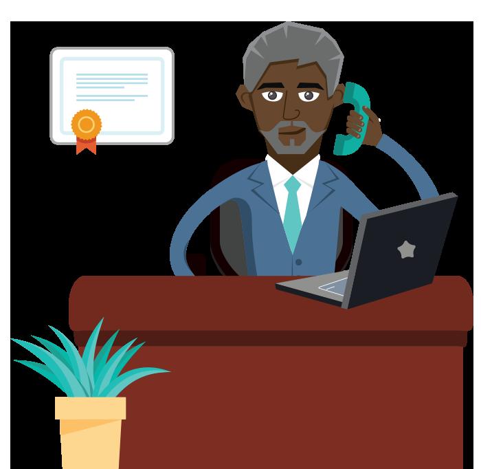 Advisor talking on the phone cartoon