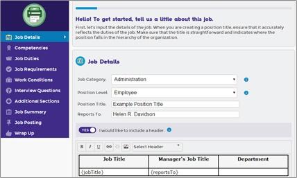 Screen cap of creating a job description