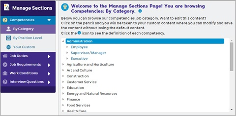 Screen cap of Managing sections