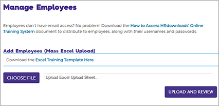 Training screen shot of Manage Employee page