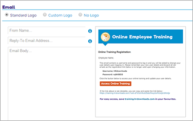 Training Screen shot of how to send custom email reminders.