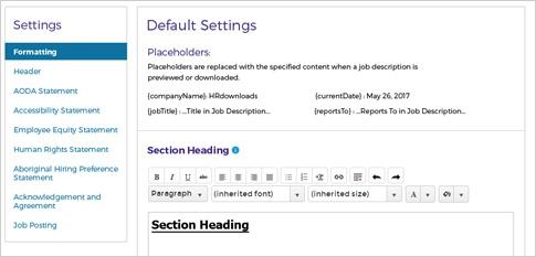 Screen cap of Default Settings
