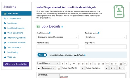 Screen cap of creating the job description