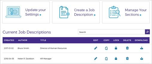 Screen cap of Job Description library