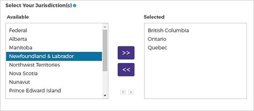 Screen cap of selecting your jurisdictions