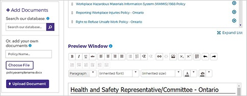 Screen cap of adding policies