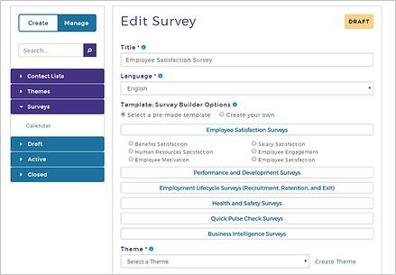 screenshot of user selecting a survey