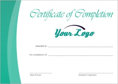 Screen cap of training certificate
