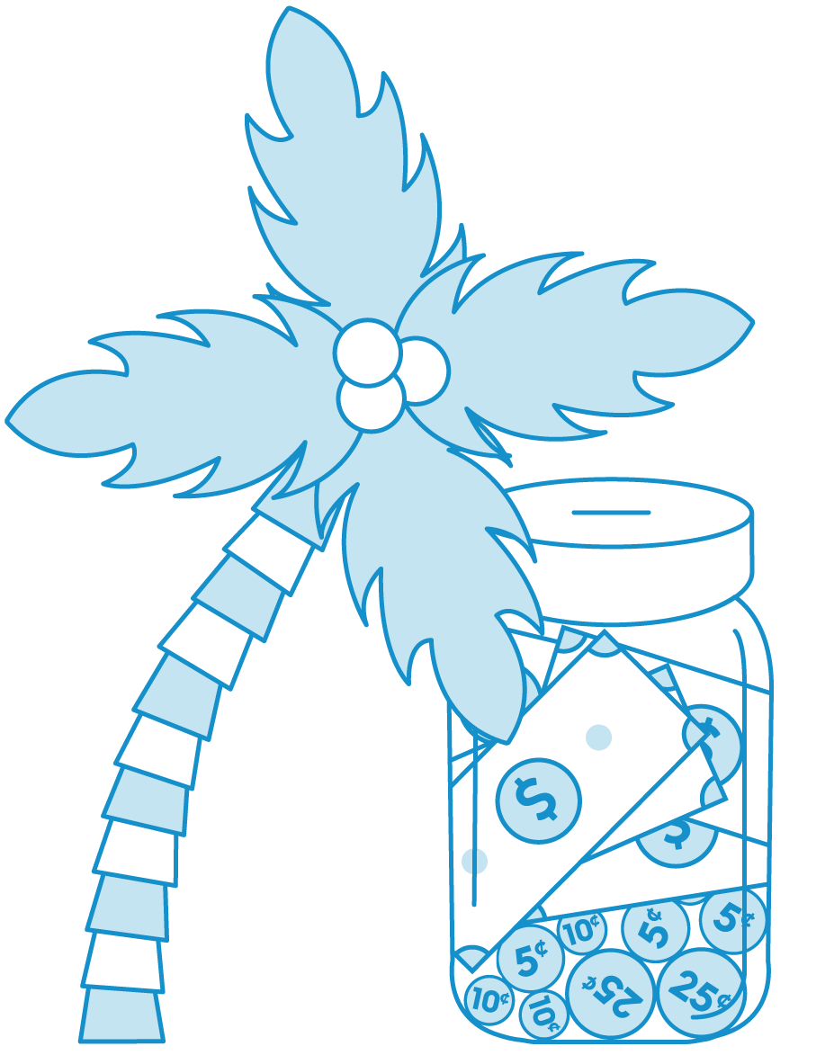 Line art Of Palm Tree With Money jar